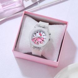 Kids KT Cat Luminous Watch Electronic Watch Armband white