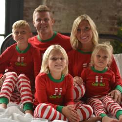 Mode jul familj matchande ränder pyjamas Set kid 5T