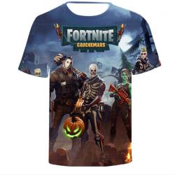 Fortnite tecknad kortärmad kostym Casual mode pojkar barn Skull and pumpkin S