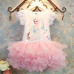 Frozen Girls Cake Layered Guaze Princess Dress / Klänning Pink 110 cm
