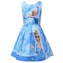 Frozen Princess Girls Cosplay kostym ärmlös klänning Light Blue 110 cm