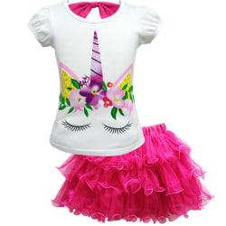 Tjejbarn Unicorn kläduppsättningar Kortärmade barnkläder för barn rose red 140cm