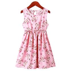 Girl Kid Baby Summer Print Waistcoat Princess Kjol Klänning Ny pink 5-6Y