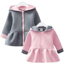 Girl Kids Cute Bunny Ear Hoodie Coat Hooded Jacket Zip Up Casual Pink 8-12 Months