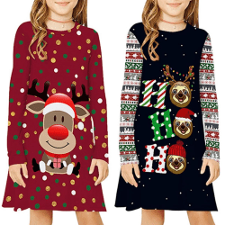 Girl Lovely Christmas Print Dress Kid Long black M