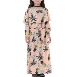 Flickor Kid blommig lång maxiklänning långärmad mantelrock Pink 9-10 Years