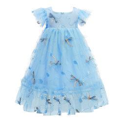 Girls Kids 3D Princess Tutu Klänning Party Lace Midi Dresses Light Blue 3-4 Years