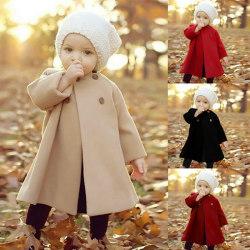 Flickor Kids Fleece Trench Cloak Coat Winter Warm Jacket Casual Beige 4-5 Years