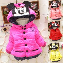 Flickor barn Mickey Minnie vadderad varm vinterjacka Coat Outwear Red 8 ( 2-3 Years )