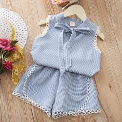 Flickor Barn Print Ärmlösa Toppar Shorts Sommar Casual Outfit Set Blue 140CM