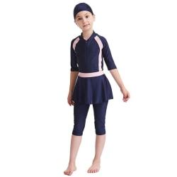 Flickor Barn Baddräkt Modest Baddräkt Långärmad Set Navy Blue 140cm