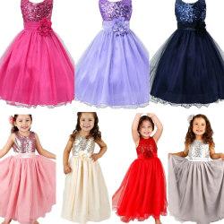Flickor Paljetter Holiday Fancy Dress Party Brudtärneklänning pink 100cm