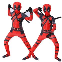 Halloween Cosplay Superhero Deadpool kostym barn Fancy Party 140