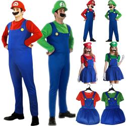 Män Kvinnor Super Mario Fancy Dress Cosplay Festival Kostymer man-green s
