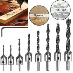 HSS Borrverktyg för försänkt borr för aluminiumplast av stål 4 Drill+1 Wrench