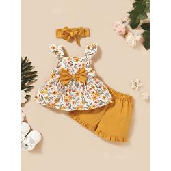 Kid Baby Girls Floral Ruffle Ärmlösa toppar Shorts Headband Set Yellow 18-24 Months