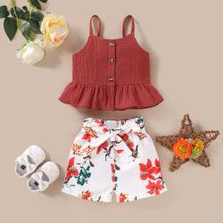 Kid Baby Girls Ärmlösa linne Blommig Bow Shorts Outfit Set