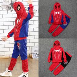 Kid Boy Spiderman Hoodie Fancy Set Sweatshirt + Pants Träningsoverall Blue 5-6 Years