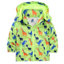 Kid Boys Hooded Printed Zip Hoodie Jacka Outwear vinterkläder Green 2-3 Years