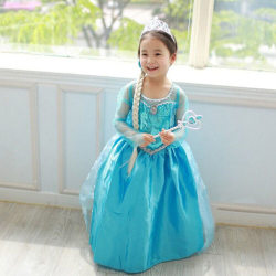 Kid Elsa Girls långärmad prinsessa kappa kostym Cosplay Party D 110cm