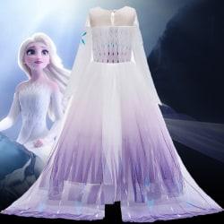 Kid Frozen 2 Queen Elsa Cosplay Kostym Girl Party Fancy Klänning purple 130cm