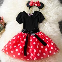 Kid Girl Minnie Mouse Pageant födelsedagsfest kostym Tutu klänning red 100cm