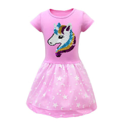 Kid Girl Unicorn Princess Midi Dress födelsedagsfest klänning klänningar Pink 6-7 Years