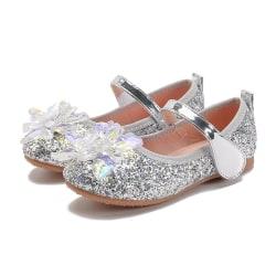 Barn Flickor Crystal Flower Bling Princess Mjuk sål paljetter Skor Silver 26