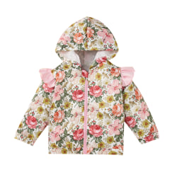 Kid Girls Winter Floral Jacket Hooded Pullover Sweatshirt Casual Pink 3-4 Years