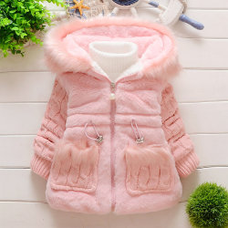 Kid Girls Winter Plain Coat Casual Baby Chunky Warm Ytterwear Pink 1-2Years