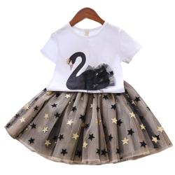 Kids Baby Girl Swan Pattern Mesh Kjol Princess Dress Casual black Swan 2XL