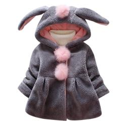 Barn Baby Flickor Vinter Faux Fur Fleece Hooded Jacket Warmer Tops Gray 0-1Years