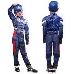Kids Boy Captain America kostym jumpsuit Hat Mask Party Cosplay S