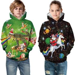 Kids Boy Girl Christmas Hoodie green L