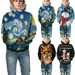 Kids Boy Girl Christmas Hoodie Xmas Graphic Long Sleeve Fashion Black 11-12Years