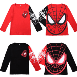 Kids Boy Spiderman Pullover Kläder Långärmad T-shirtkläder Black spiderman 100cm
