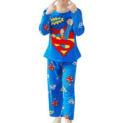 Barn Casual Tecknade serier Bekväma långärmade hemkläder Pyjamas Superman 122-128cm