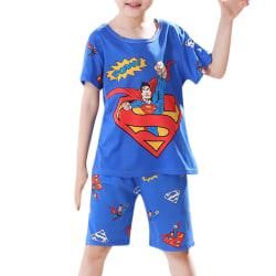 Barn Barn Casual Tecknad hemtjänst Kortärmad pyjamas Superman 110-116cm