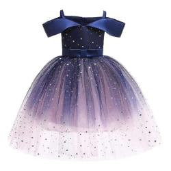 Kids Girl Cold Shoulder Princess Tutu Dress Party Wedding Dark Blue 4-5 Years
