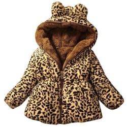 Kids Girl Leopard Winter Warm Faux Fluffy Padded Hoodie Snowsuit Leopard 5-6 Years