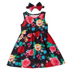 Barnflickor Casual blommigtryckta semesterbröllopsklänningar Red 6-7 Years