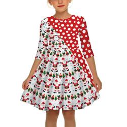 Barnflickor julfest Santa Xmas Floral Swing Skater Dress whitedot S
