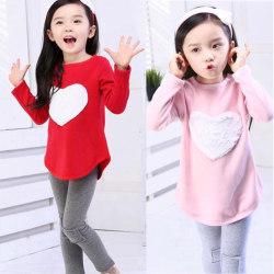 Barn Flickor Kläder Tshirt Byxor Pannband 3PCS Sets Red 140cm