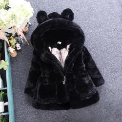 Barnflickor Fleece Fur Bunny Ears Småbarn vinterjacka Black 90 cm