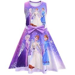Barnflickor frusen prinsessaklänning Födelsedagsfest Fritidsklänningar Purple 3-4 Years
