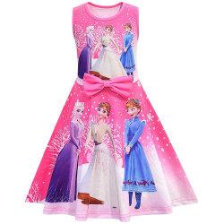 Barnflickor frusen prinsessaklänning Födelsedagsfest Fritidsklänningar Rose Red 5-6 Years