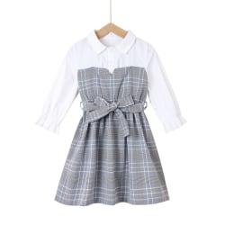 Barnflickor Långärmad klänning Fest Bröllop Fritid Lösa klänningar White 5-6 Years