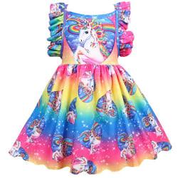 Barnflickor Rainbow Unicorn Ruffle Princess Gown Party Dress 110cm