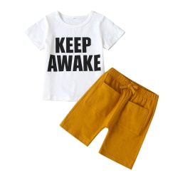Barnflickor T-shirtbyxor Outfit Casual Top Shorts Kläder White T-Shirt + Plain Pants 6-7 Years