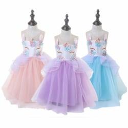 Barnflickor Unicorn-tryckt ärmlös tyllklänning Princess Blue 6-7 Years